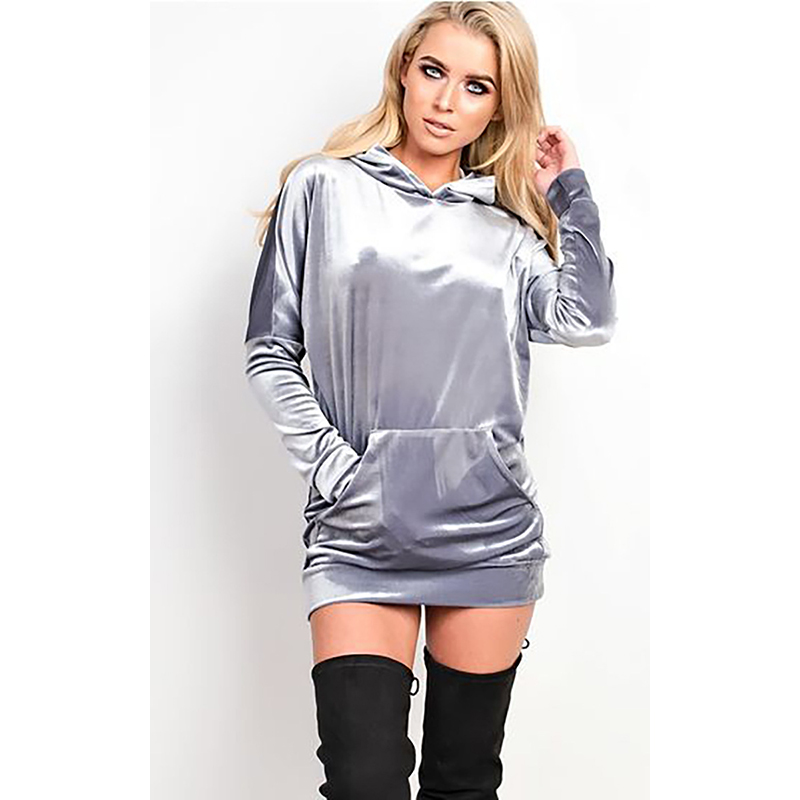 Dream Vine Autumn Women Hooded Sweatshirt Long Sleeve Velvet Party Dresses Elegant Hoodies Bodycon Slim Dress Vestidos Mujer