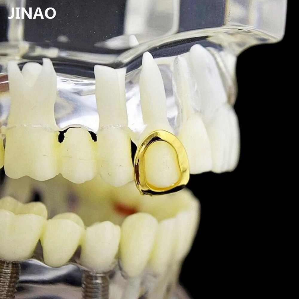 Grillz DE CARA abierta calada chapada en oro amarillo de JINAO, tapa de diente individual, parrillas de diente de Hip Hop para regalo