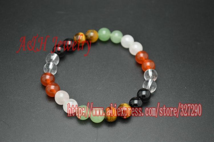 Bracelet pierre semi naturelle en perles de 8 mm Couleur Noir brillant