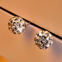 Newest 100 925 Sterling Silver Button Earrings For Women Fashion Jewelry Silver Accessries VC091