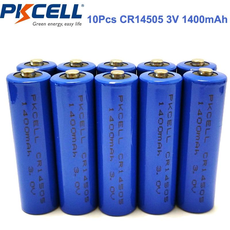 10Pcs PKCELL CR14505 AA 14505 <font><b>3V</b></font> 1400mAh Cylindrical <font><b>Li</b></font> MonO2 <font><b>Battery</b></font> Single Use <font><b>Battery</b></font>