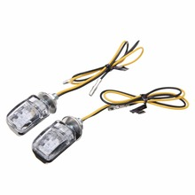 1Pair 6LED 12V Motorcycle Mini Turn Signal Light Amber Blinker Indicator Little Rectangle Lamp For Cruiser Chopper Touring Dual