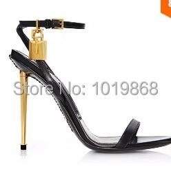 Brand Gold Lock Sandals Women Gold Pump Shoes High Heels Cheap ...