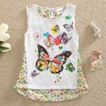 Neat 2016 New lace t shirts baby girl clothes sleeveless t-shirt fashion butterfly child clothes wear children clothing SD6619#