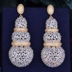 Image 4 - GODKI 68mm יוקרה דלעת מלא מיקרו מעוקב Zirconia אפריקאי אירוסין מסיבת שמלת עגיל תכשיטים לנשים