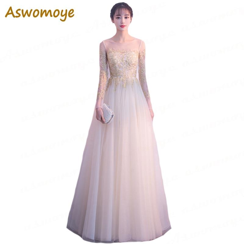 Aswomoye A-Line Long Evening Dresses 2018 Prom Dress Sexy Illusion O-Neck Formal Party Dress Gold Appliques Lac Vestido de festa