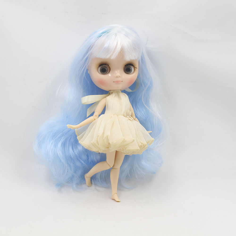 Nude middie blyth joint doll white mix blue hair Transparent face suitable DIY gift for girl like the icy doll middle blyth