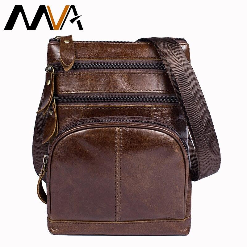 MVA Men Messenger Bags men's Genuine Leather Bag Shoulder Bag Male Zipper Casual Small Flap Crossbody Bags for Men Leather 8121 палетка теней для век divage palettes eye shadow natural