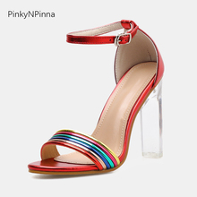 buckle super high transparent heels sexy sandals woman patent leather mixed rainbow color toe strap runway style shoes female sestito woman fashion silk peep toe ankle strap sandals ladies mixed color high heels sandals buckle strap dress runway shoes