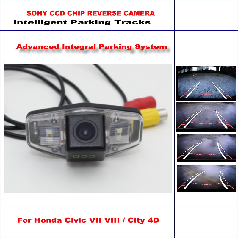 Intelligent Parking Tracks Rear Camera For Honda Civic VII VIII / Honda City 4D Backup / NTSC RCA AUX HD SONY CCD 580 TV Lines backup rear reverse camera for roewe 350 mg 350 2010 2016 hd 860 576 pixels 580 tv lines intelligent parking tracks