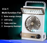 Portable solar 220V electric charging fan 1200mA battery rechargeable fan 5V mini multi functional LED lamp flashlight & fan