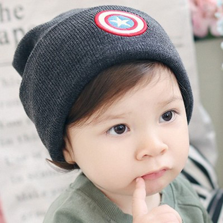 Winter baby hat knitted ear Captain America: Civil War cap children star cap child boy warm hat set victorian america and the civil war