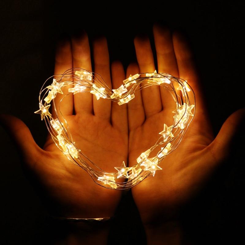 2 М 3 М СВЕТОДИОДНЫЙ Медный Провод Звездные огни строки АА На Батареях Светодиодные Звездные Сказочные огни на Рождество украшение свадьбы