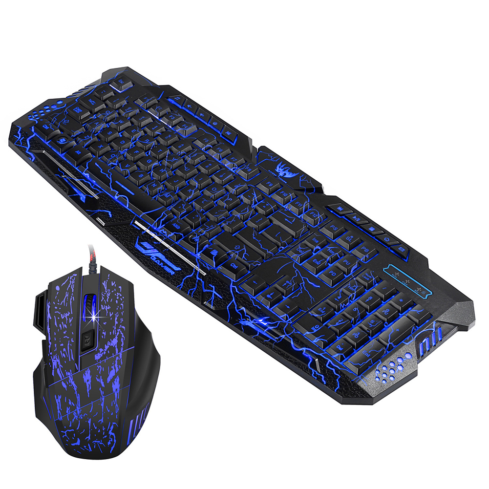 Cool Multimedia J60 3 Colors Backlight Wired Crack Gaming Keyboard Mouse Set mi j60 iz