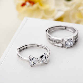 Sterling Silver Cubic Zirconia Couples Ring Set 1
