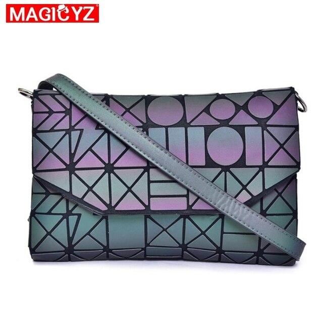 여성을위한 MAGICYZ Crossbody 가방 2020 패션 레이저 기하학적 빛나는 여성 핸드백 지갑 클러치 디자이너 브랜드 어깨 가방
