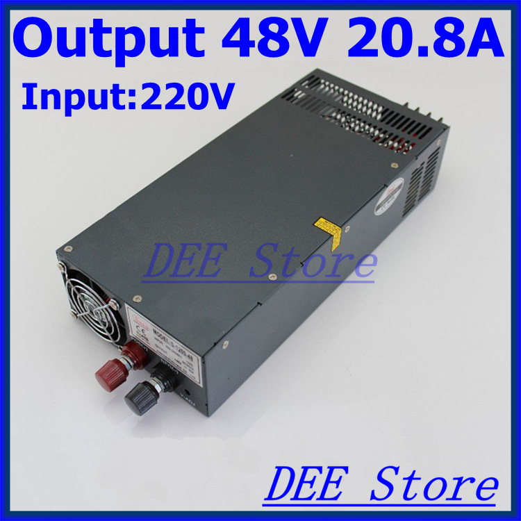 Led driver 1000W 48V(0-52.8V) 20A Single Output ac 220v to dc 48v Switching power supply unit for LED Strip light allishop 300w 48v 6 25a single output ac 110v 220v to dc 48v switching power supply unit for led strip light free shipping