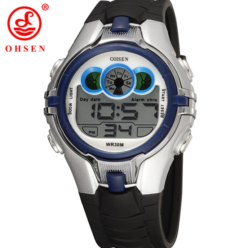 2017 OHSEN Brand Blue 7 Colors Kids Boys Watches Sports Cartoon Rubber Strap Children's Digital Clocks LED Wristwatches Gifts