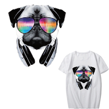 Iron on Transfer DJ Dog Patches for Clothes DIY T-shirt Appliques Heat Transfers Music Patch Stickers for Clothes Thermal Press iron on letters patches for clothes ironing stickers heat transfers for t shirt hoodie jeans diy accessory press patch vetement