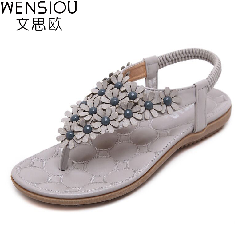 summer women Bohemia beach sandals casual women shoes flat shoes sandalias mujer ladies shoes new flip flops 2017 7-BT539 2016 new summer peep toe flat platform buckle cross tied genuine leather horse hair women sandals flip flops mujer sandalias