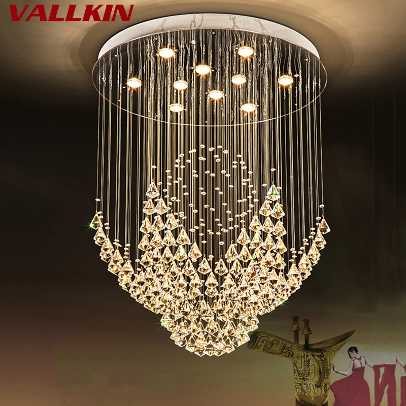 Ceiling Lights & Fans Hearty Long Stairwell Crystal Chandelier Led Luminaria For Living Room Chandelier Lighting Stairway Gold Led Chandelier Hotel Fixtures