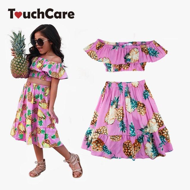2 PCS/Set Summer Baby Girls Clothing Set Pineapple Print Off Shoulder Top+Skirt Ruffle Girls Dress Beach Sundress Robe Fille