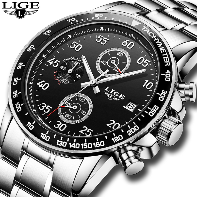 цена LIGE Watch Men Fashion Sport Quartz Clock Mens Watches Top Brand Luxury Full Steel Business Waterproof Watch Relogio Masculino в интернет-магазинах