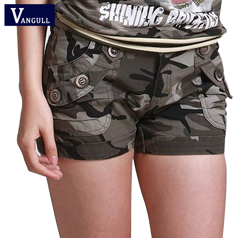 Women Plus Size Fashion Camouflage Short Slim Pocket Mini Short Pants Cargo Shorts Ladies Girls Summer Streetwear VANGULL 2018