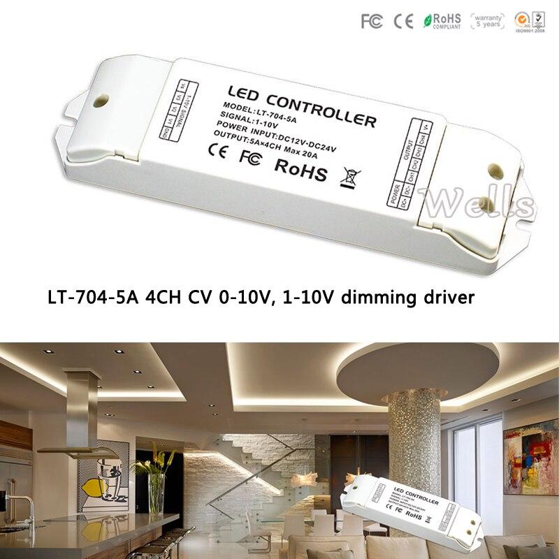 LTECH LT-704-5A led Driver;DC12 -24V 4CH CV 0-10V, 1-10V to PWM Dimming Driver 5A X 4 CH MAX 20A for led rgbw strip lt 704 5a 4ch cv 0 10v 1 10v dimming driver