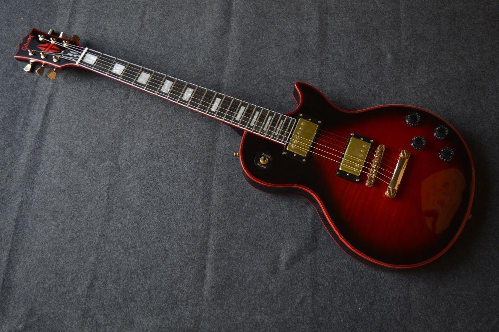 Nouveaux magasins de Chine OEM firehawk boutique guitare électrique livraison gratuite Le rouge sac bord Tigre rayures dans l'estomac