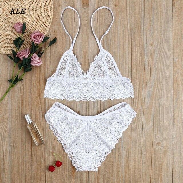 Sunfree Tempting Underwear Women Girl Sexy Lace Bra Lingerie Bodice Underwear Bodysuit Solid White Daily Sleepwear 3L45