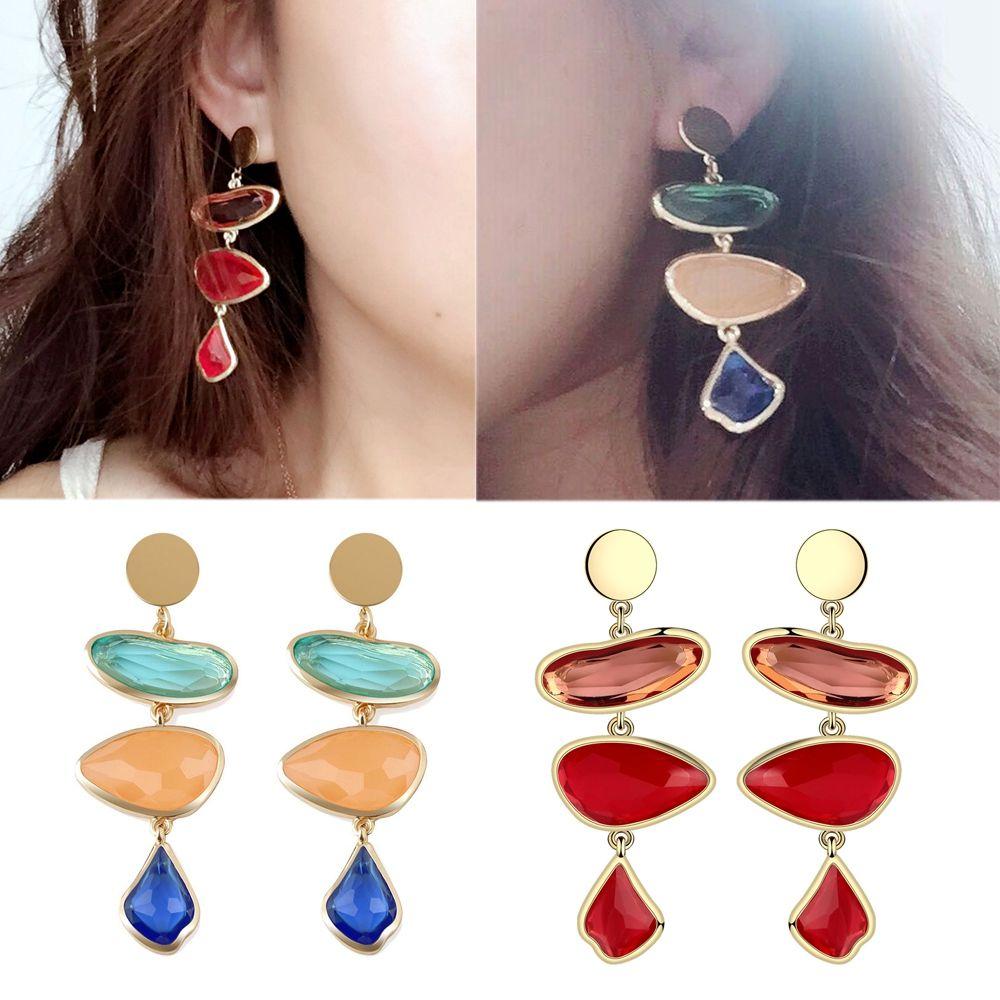 1 PCS Elegant Women Nature Stone Crystal Drop Earrings Women Personalized Water Drop Resin Dangle Earring Accessories Gold Color