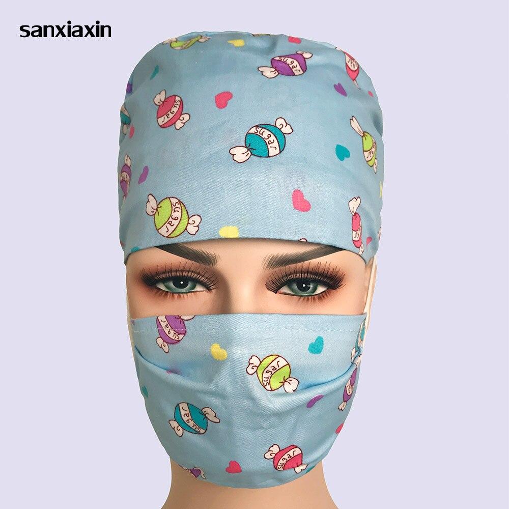 Sanxiaxin Wholesale Cotton Print Adjustable Pet Hospital Work Hats Surgical Caps Women Men Doctor Nurse Caps Beauty Pharmacy Hat