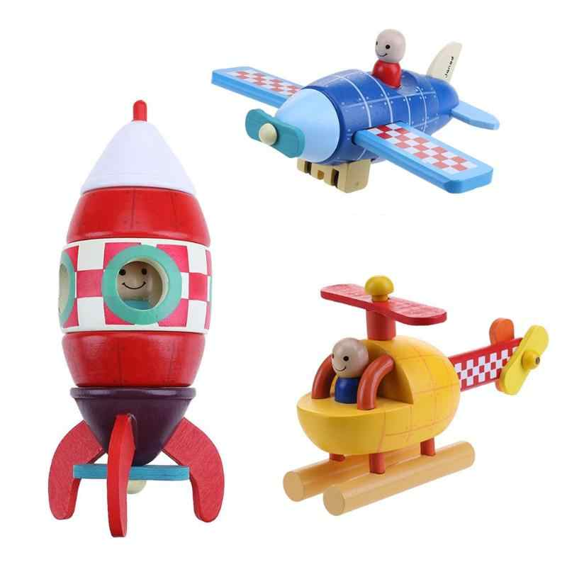 1 pcs Wooden Magnetic Removal Disassembly Assembly Aircraft Rocket Helicopter Doll Toy Vehicles for Kid Educational Toys Gift