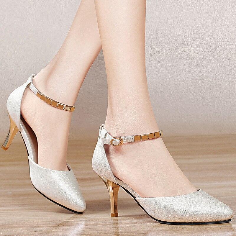 faaa6afe2f8 Hosteven Merek Sepatu Wanita Pompa Pink High Heels 7 CM Sepatu Wanita  Sepatu High Heels Pernikahan Pompa Nude Dasar Sexy sepatu di Wanita Pompa  dari Sepatu ...