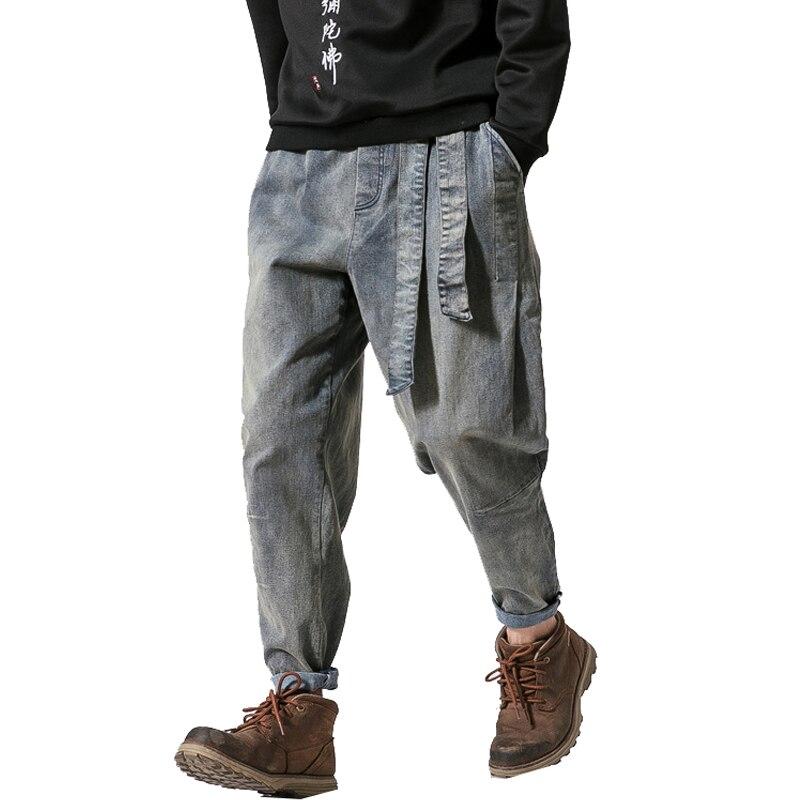 2019 Spring Men   Jeans   Pants Man Retro Cotton Joggers Ribbon Men Casual Streetwear Denim Trousers Men Drop Shipping ABZ229