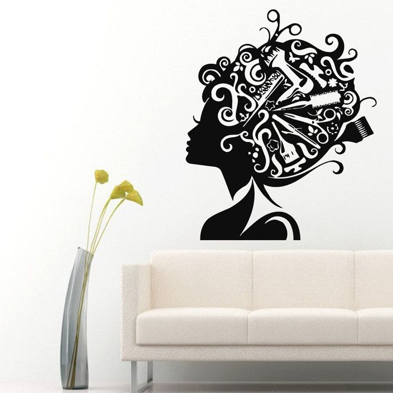 Hair salon sticker beauty decal haircut name posters time hour vinyl wall art - Decoration mural salon ...