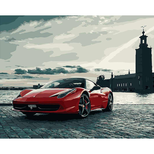 Lukisan Dengan Angka Diy Mobil Terkenal Mobil Sport Lanskap Kanvas