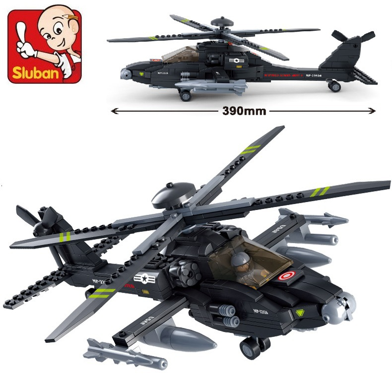 AIBOULLY B0511 Air plane Black AH-64 Utility Helicopter 3D Construction Plastic Model Building Blocks Bricks Compatible Gift new phoenix 11207 b777 300er pk gii 1 400 skyteam aviation indonesia commercial jetliners plane model hobby