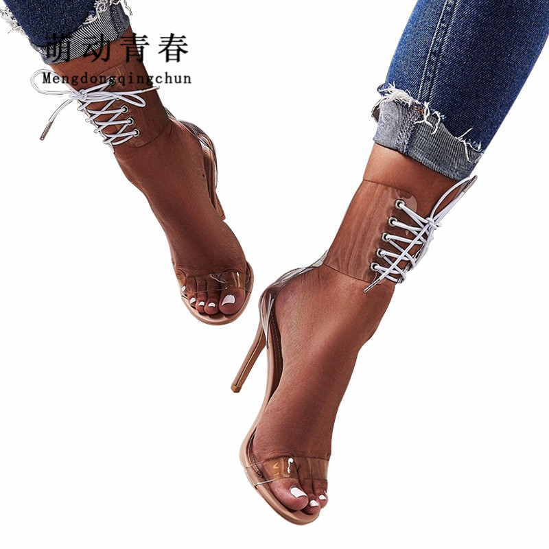 Fashion Europe Brand Women High Heels Sandals Sexy Peep Toe Ankle Strap Shoes Lace Up Clear Transparent Party Wedding Sandals women gladiator sandals pvc transparent high heels shoes lace up party wedding sandals ladies sexy cross tied stiletto shoes