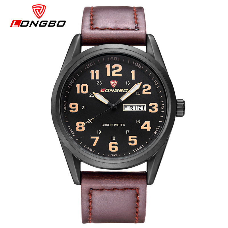LONGBO Fashion Brand  New Fashion Hombre Leisure Business Series Watches Leather Calendar Men Waterproof Wrist Watches Hot 80207