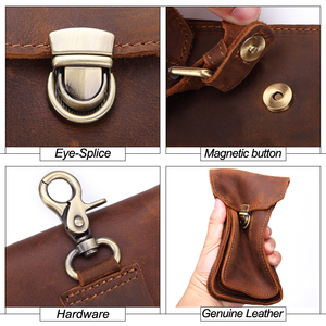Image 5 - MISFITS 2019 NEW Genuine Leather Vintage Waist Packs Men Travel Fanny Pack Belt Loops Hip Bum Bag Waist Bag Mobile Phone Pouch