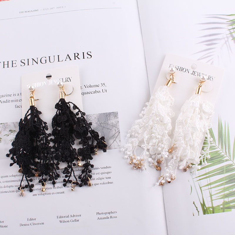 JIOFREE Fashion Clip On Earring No Pierced Female Hanging Tassel Flower Fringe Statement Boho Lace Women Wedding Pendant Jewelry