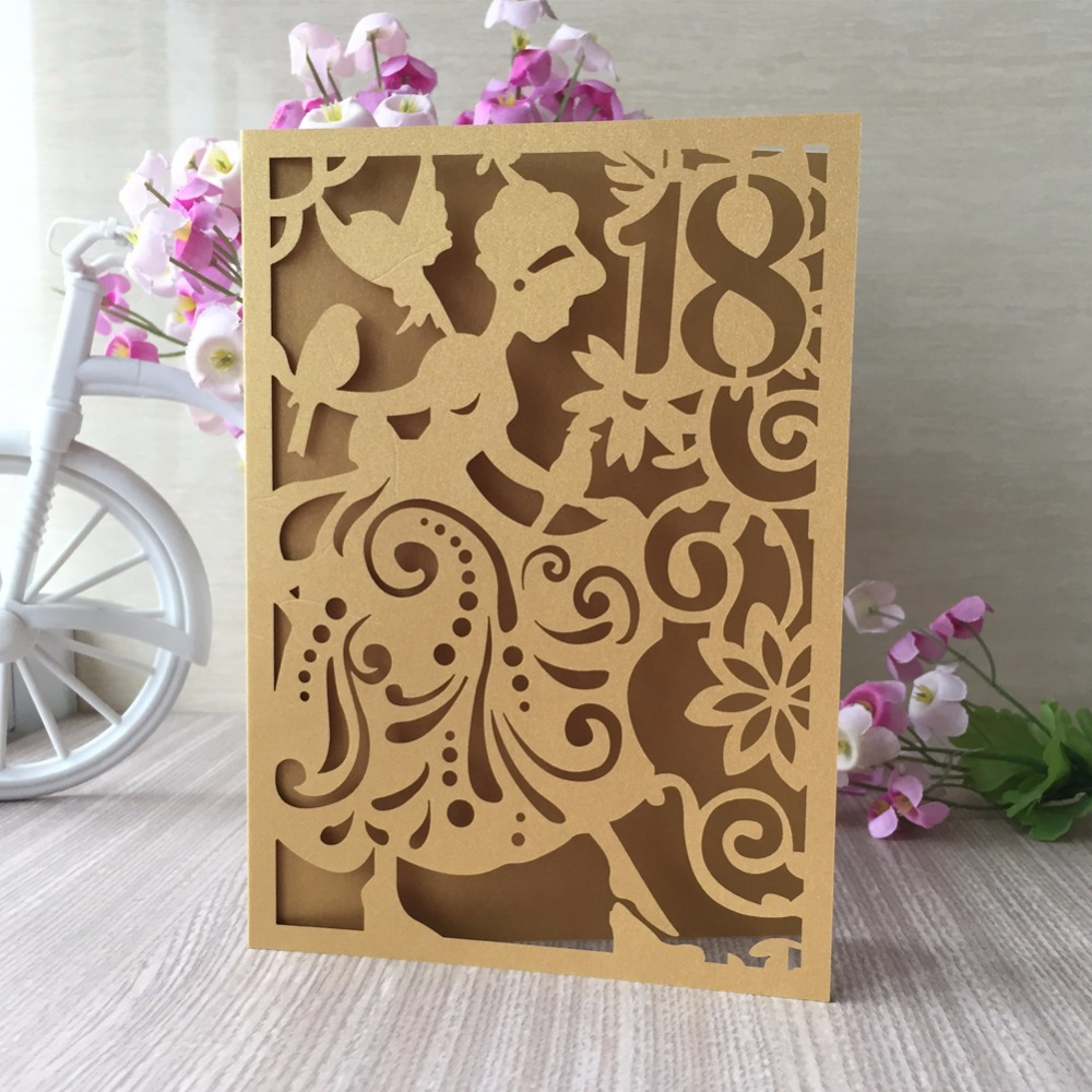 100pcs Exquisite Invitation Card 18th Birthday Party Decorations Greeting Blessing Gift Supplies In Cards Invitations From Home Garden