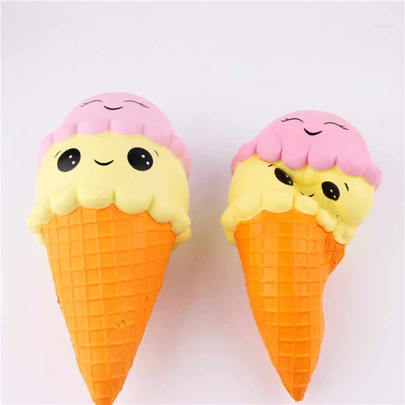 Squishy Double Smiley Ice Cream Kawaii Squishies Slow Rising Soft Squeeze Relieve Pressure Squishy Bread Toys Gift J75