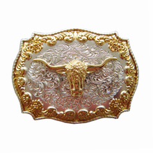 Retro Bull Head Leaves Golden Western Cowboy Rodeo Belt Buckle For Men Women Texas USA Style