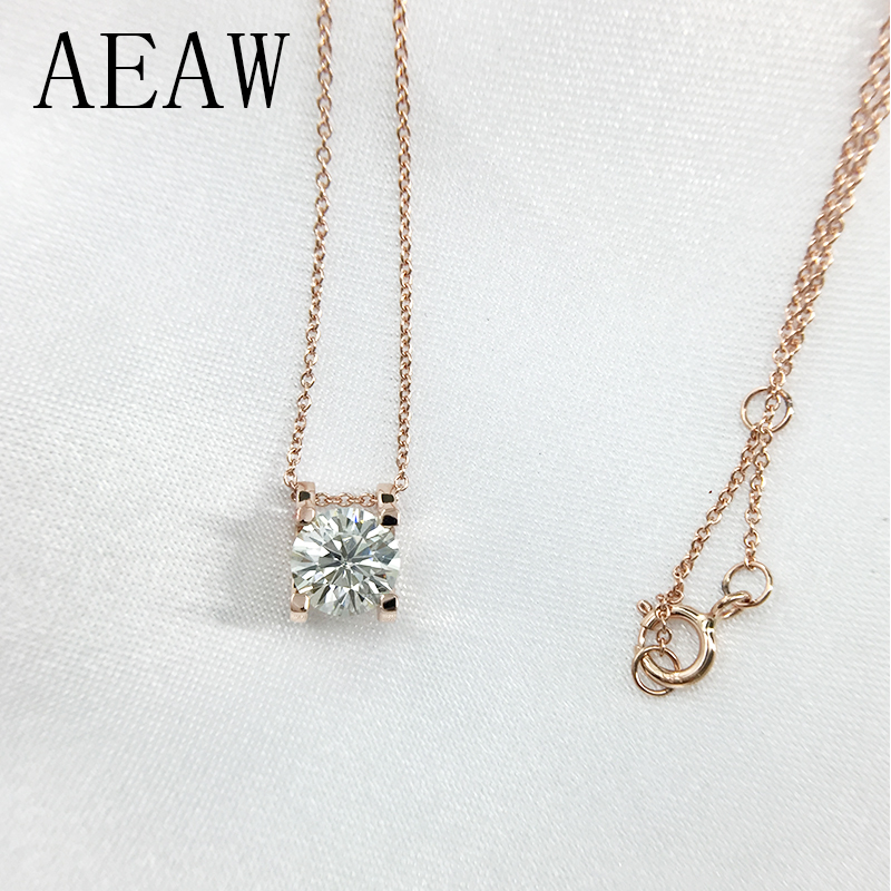 1.0ct 6.5mm VVS1 DEF Round Cut 14K Rose Gold Moissanite Pendant With 14K Gold Chain Necklace For Women in Fine Jewelry real 18k rose gold 1 2 carat ct def color lab grown moissanite diamond pendant necklace chain for women charm jewelry