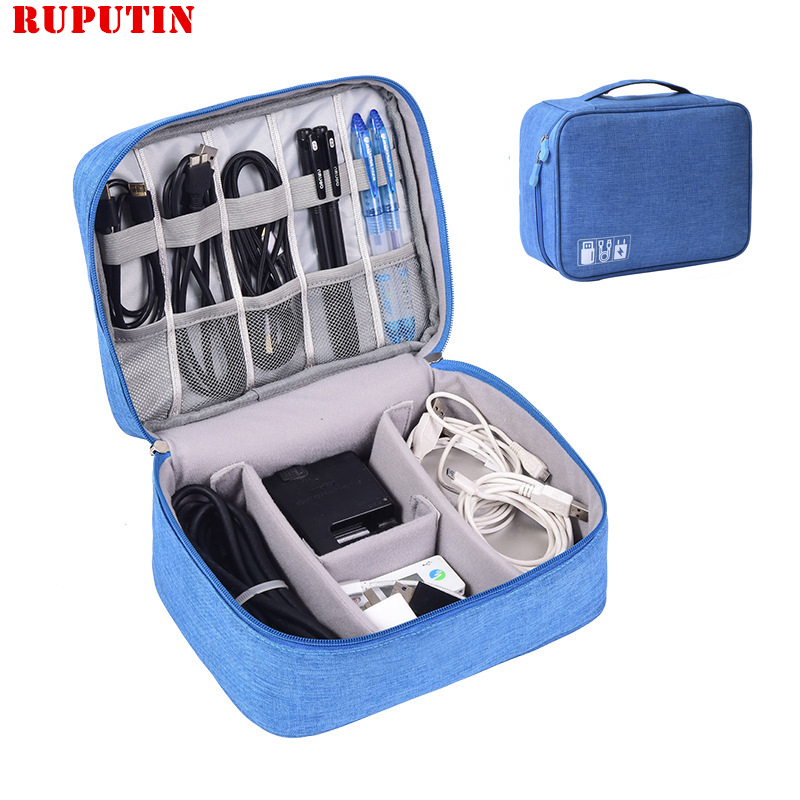 RUPUTIN Digital Cable Bag Portable Gadgets Pouch Power Cord Charger Headset Organizer Drive Electronic Case Travel Accessories