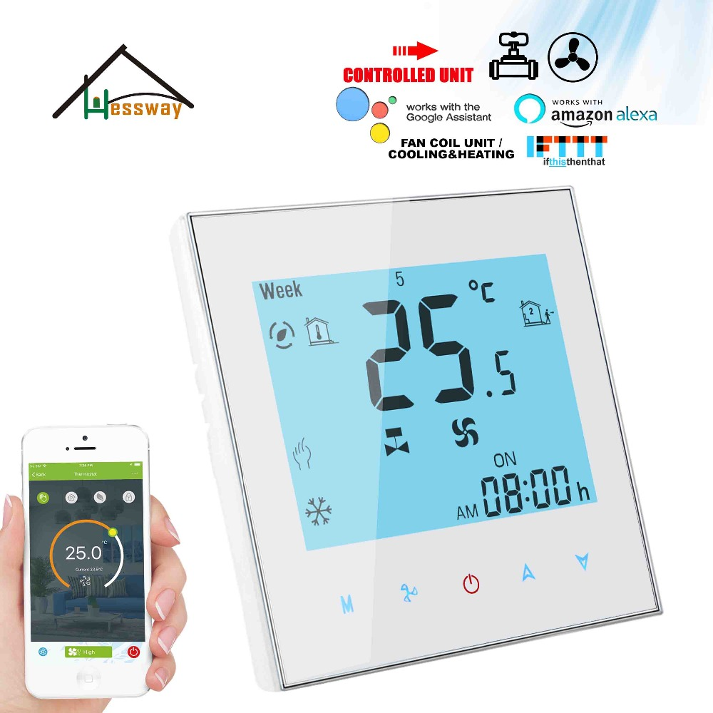 HESSWAY EU Mounting 2PIPE Cooling Heating 3 Speed Heat Cool Temp Thermostat WIFI Hyundai Housing For Digital Programmable