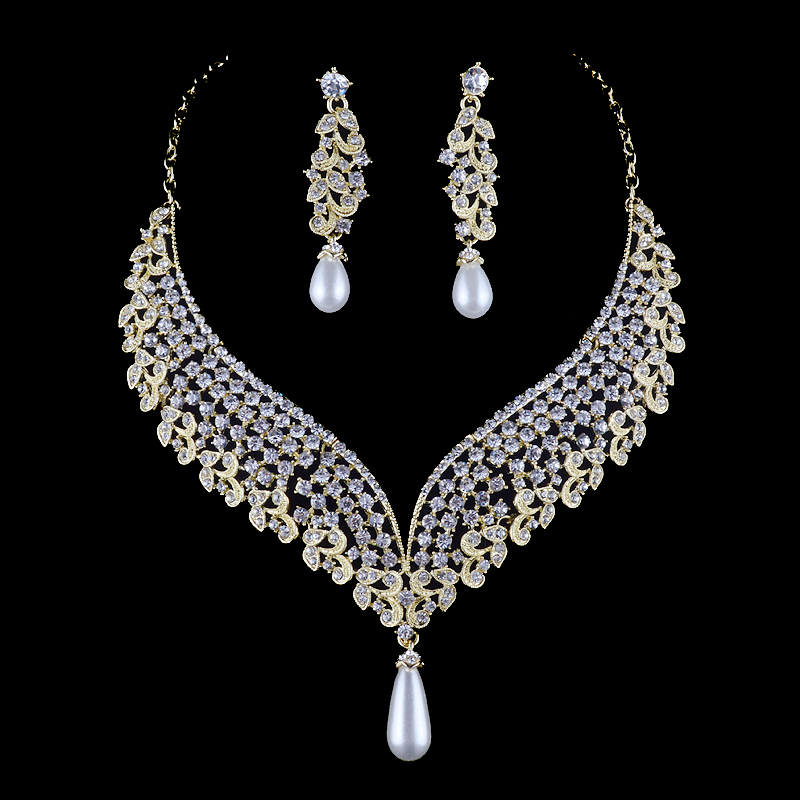 India pearl style Bridal Wedding Necklace earrings set Crystal Rhinestone Jewelry Sets For women Party Dress jewelry Accessories a suit of chic fake pearl rhinestone oval necklace and earrings for women